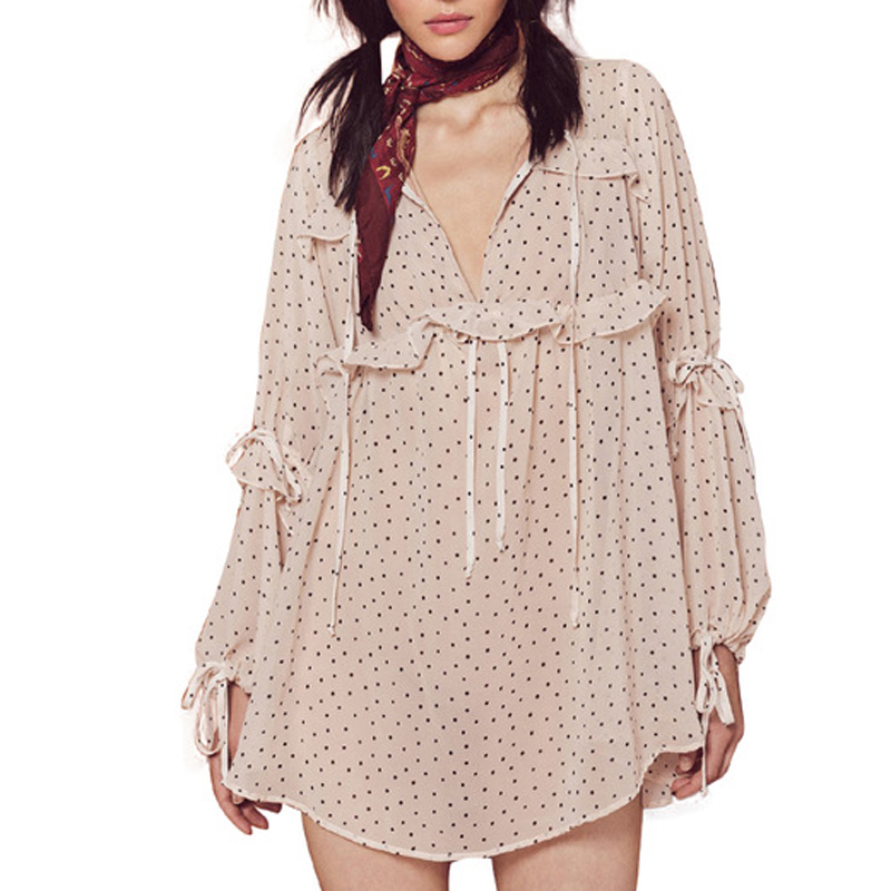 Womens Korean Fashion Vintage Chiffon Blouse Long Puff Sleeve Shirts Ruffle Tops