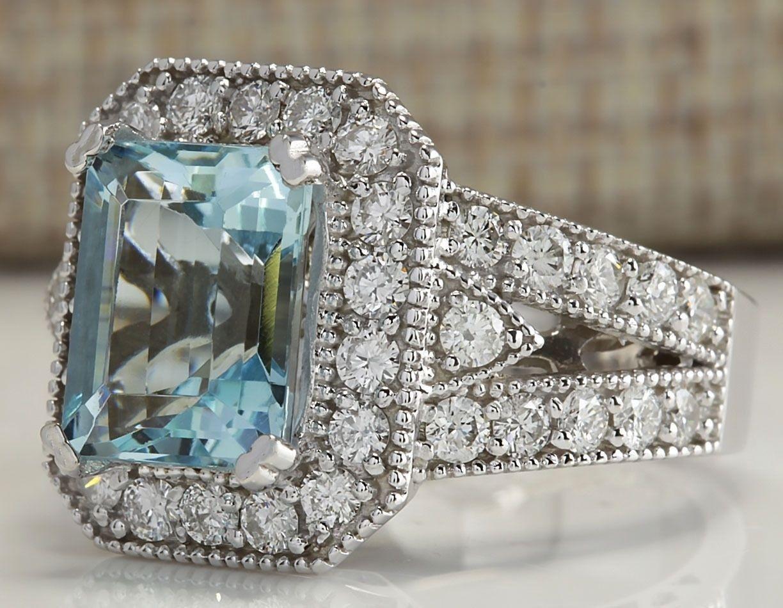 Charming Jewelry 925 Silver Aquamarine Ruby Gem Ring Women Engagement Size 6-10