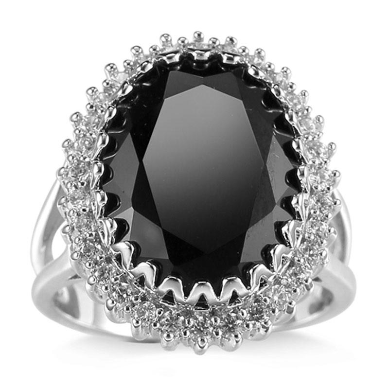 Fashion Women 925 Silver Black Onyx Ring Wedding ...