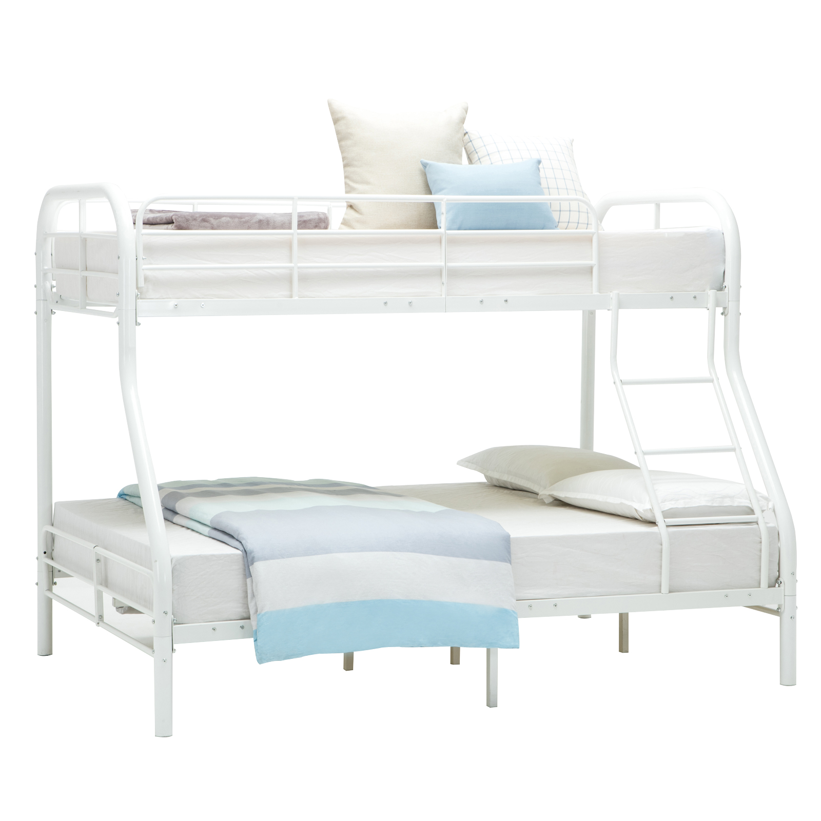 Twin Over Full Bunk Bed Metal Ladder Kid Teen Dorm Loft