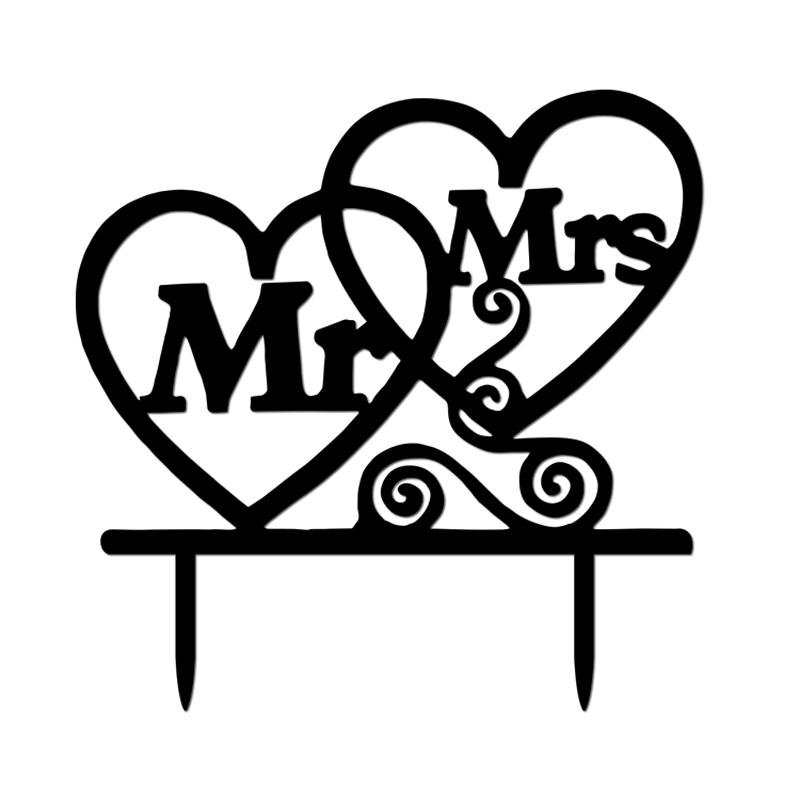 Acrylic Mr Mrs Bride And Groom Wedding Love Cake Topper