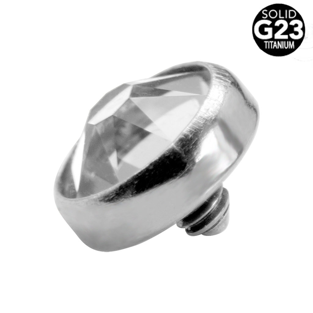 G23 Titanium Dermal Anchor Top Flat Gem Head 3/4/5mm