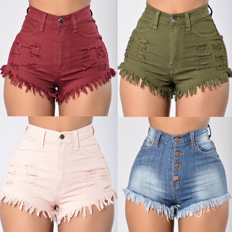 Fashion Women Summer High Waist Denim Jeans Beach Pants ...