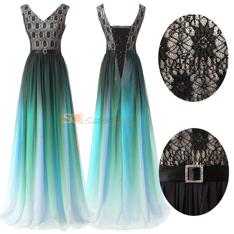 Multi Color Chiffon Maxi Long Prom Dress V Neck Bridesmaid