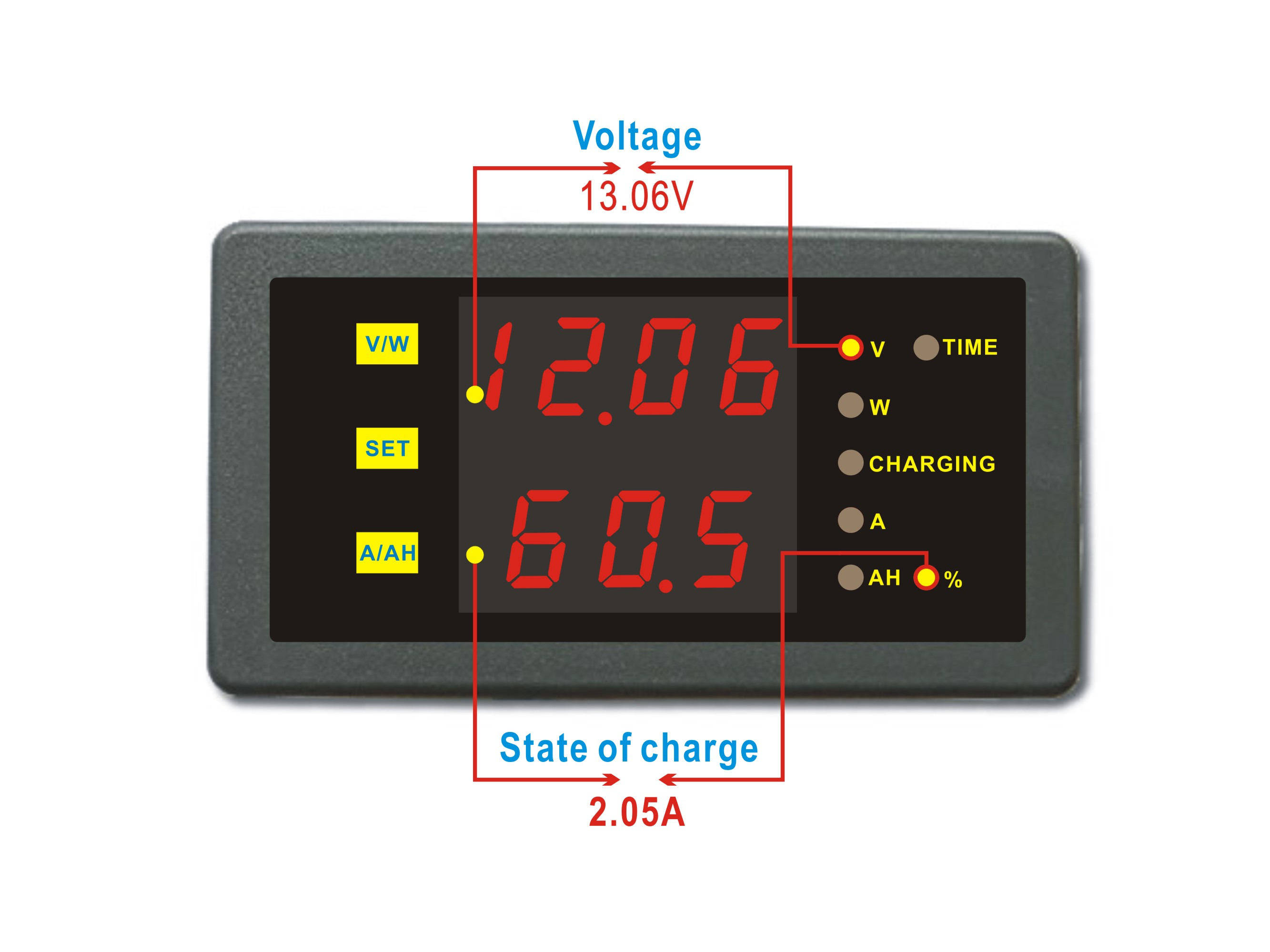 State Of Charge Battery Monitor : Dc v a battery monitor state of charge remaining