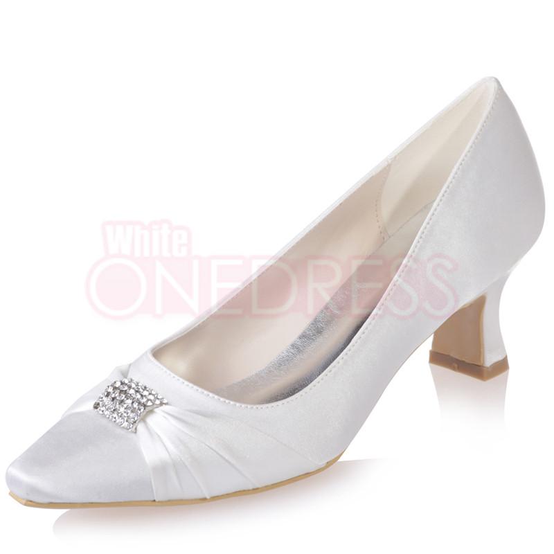 satin pointed toe low block chunky heels wedding bridal