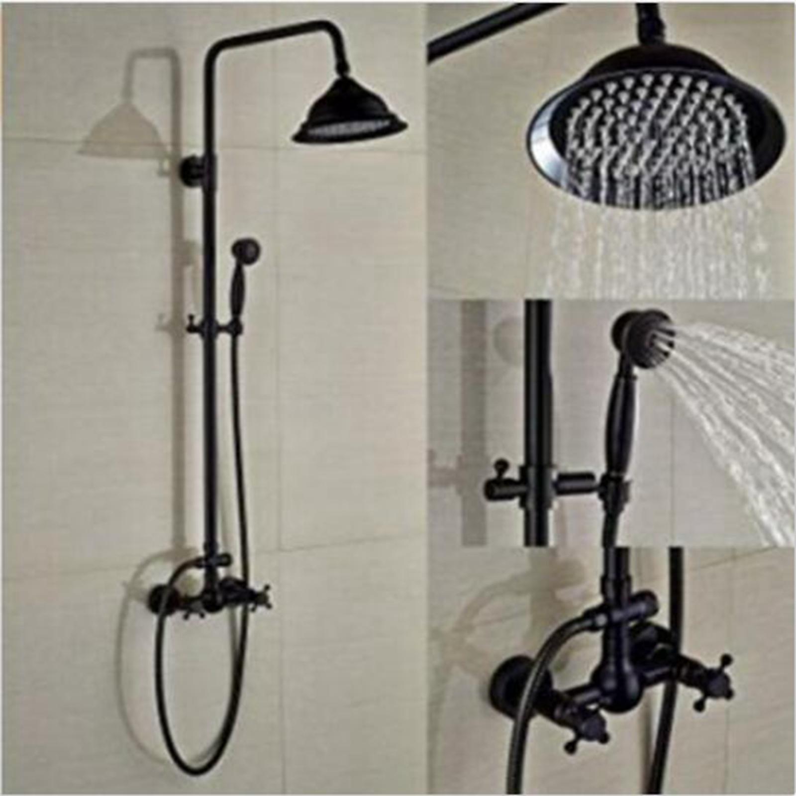 Wall Mount Bath Shower Faucet Set Rain Shower Head Hand