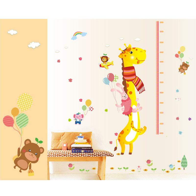 removable height chart measure wall sticker decal for kids removable small animals bird owl wall stickers bedroom