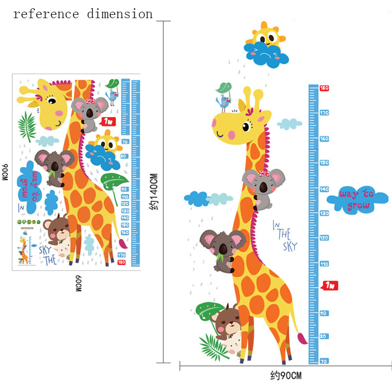 removable height chart measure wall sticker decal for kids removable wall decals animals pattern sticker decor for