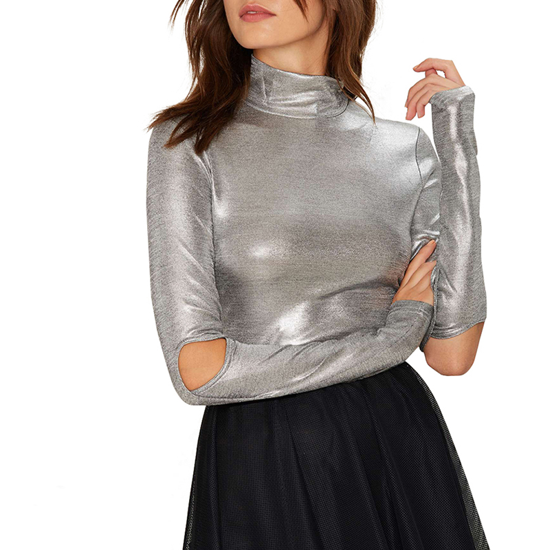 Women Silver Shiny Wet Look Shirt Blouse High Neck Cut Out Long Sleeve Party Top