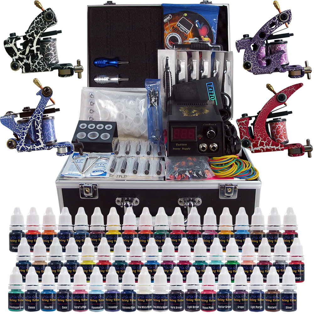 Complete tattoo kits 4 pro machine guns 54 inks power for Tattoo supplies ebay
