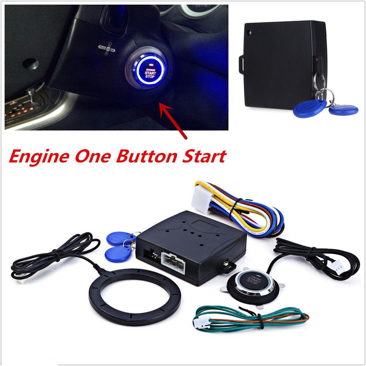 12v Car Alarm System Keyless Entry Push Button Start: Car Engine Push Start Button/RFID Engine Lock Ignition