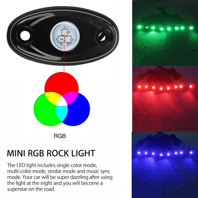 8pcs Rgb Led Rock Lights Wireless Bluetooth Music Flashing
