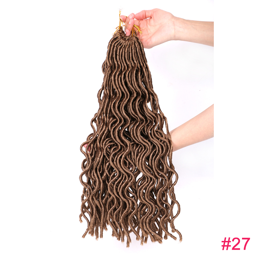 24 Roots Curly Faux Locs Wavy Dreadlocks Crochet Braids ...