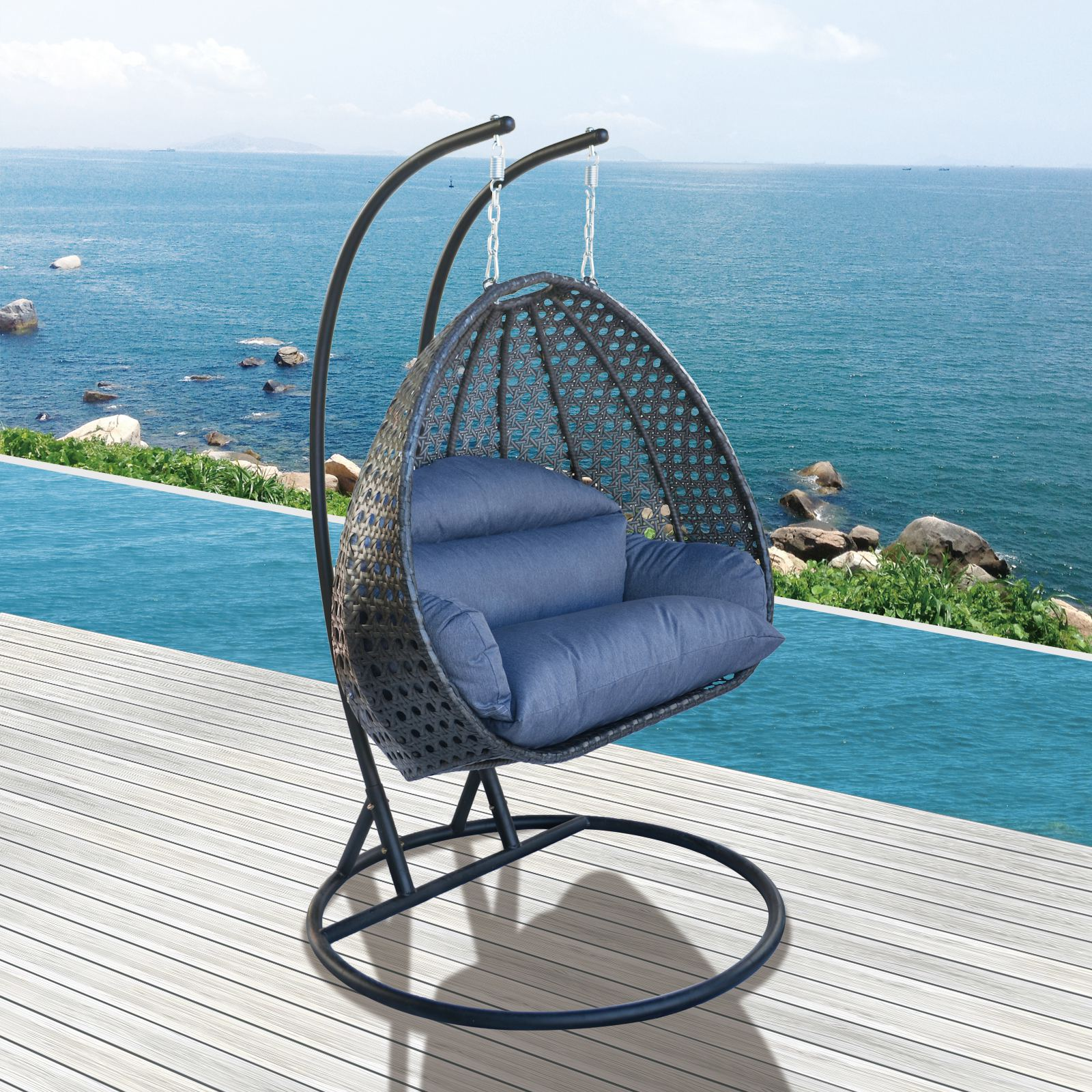 Heavy Duty 2 Person Wicker Swing Chair Hanging Outdoor