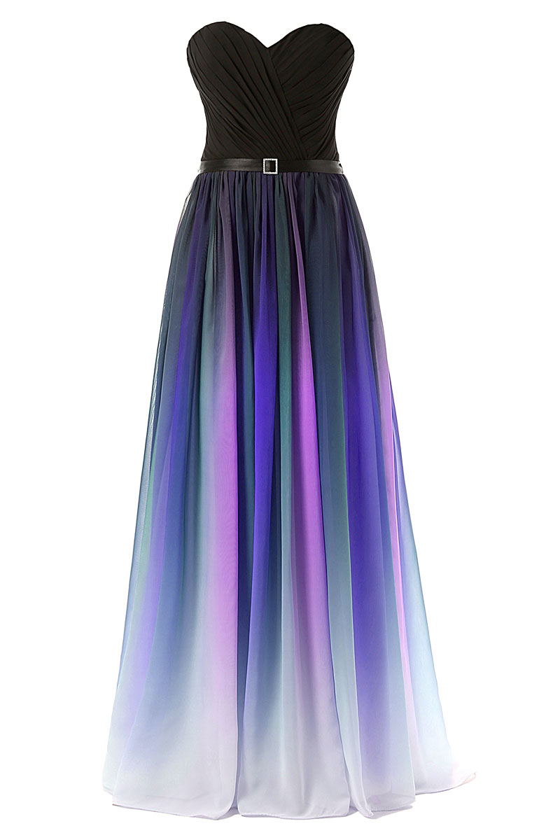 Strapless ombre multicolor chiffon women long dress for Dresses for wedding party