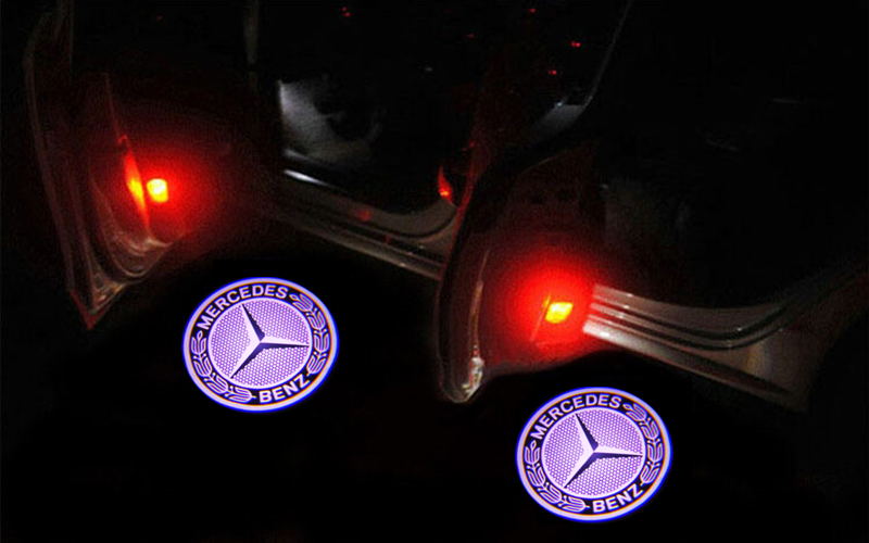 2x led benz logo door projector light for mercedes benz for Mercedes benz symbol light