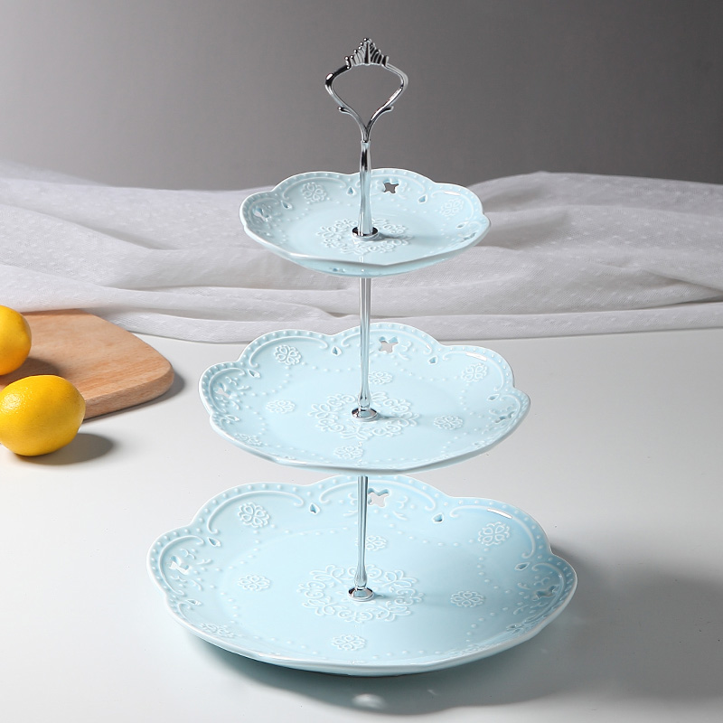3 tier embossed ceramic cake stand cupcake stand food stand wedding plate. Black Bedroom Furniture Sets. Home Design Ideas