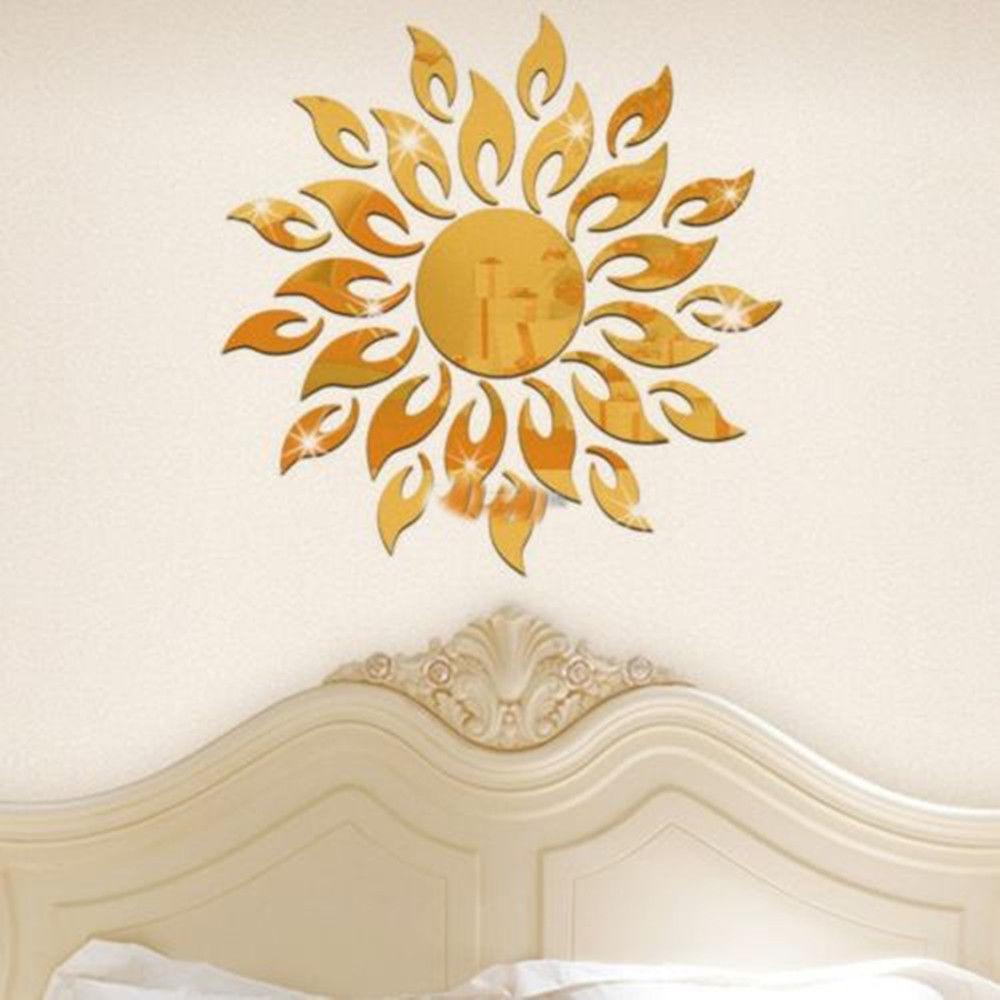 Sunflower mirror removable wall art stickers vinyl diy for Sunflower home decor