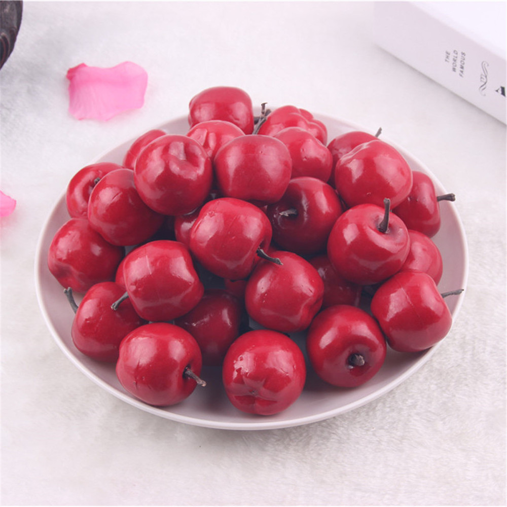 Pack of 50 artificial plastic foam apples miniature fruit for Apples decoration for home