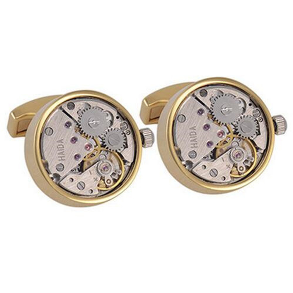 Steampunk classic mens silver cufflinks watch movement for Men s jewelry box for watches and cufflinks