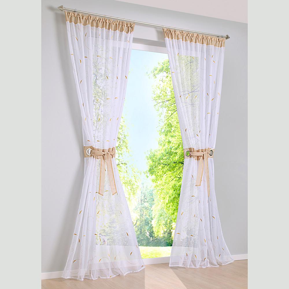 1 2pcs schlaufenschal vorhang gardine gardinenschal deko mit ring sticken ebay. Black Bedroom Furniture Sets. Home Design Ideas
