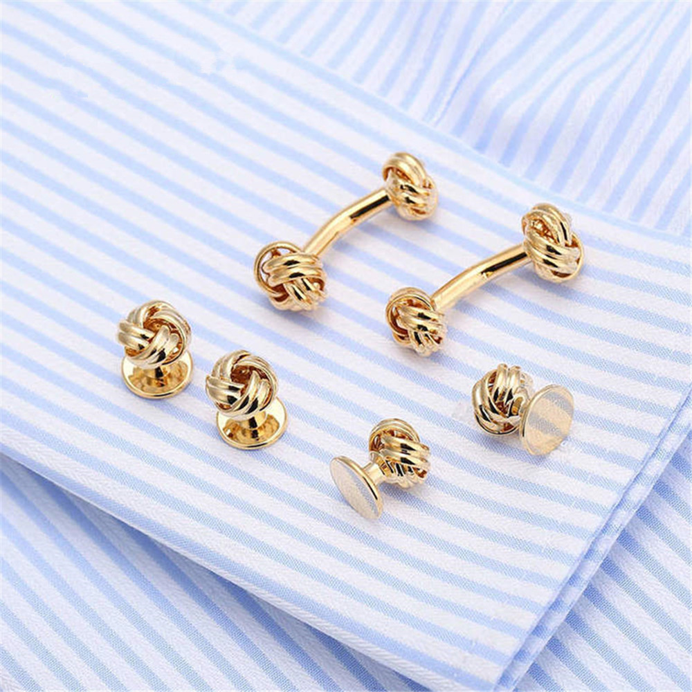 NEW Men/'s Silver Gold Two Tone Love Knots Cufflinks Studs Formal Gift Boxed