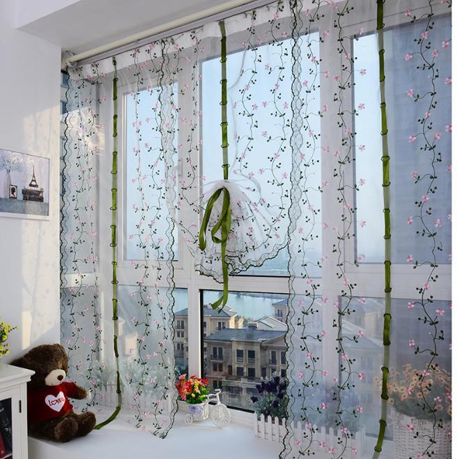 1 2pcs gardinen vorhang transparent sticken dekoschal schlaufen gardinenschal ebay. Black Bedroom Furniture Sets. Home Design Ideas