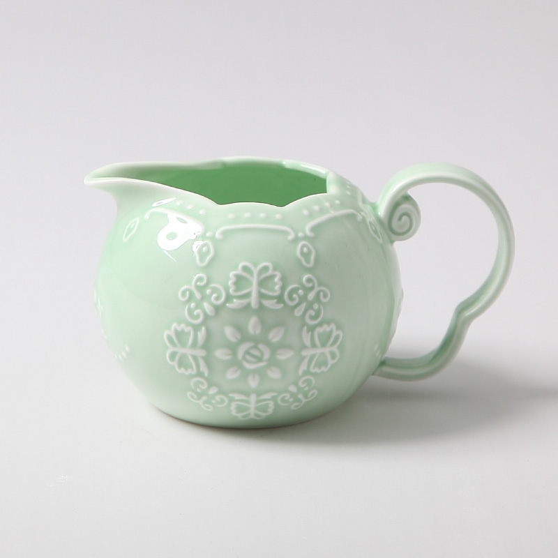 Green european embossed porcelain ceramic coffee cup tea Green tea pot set