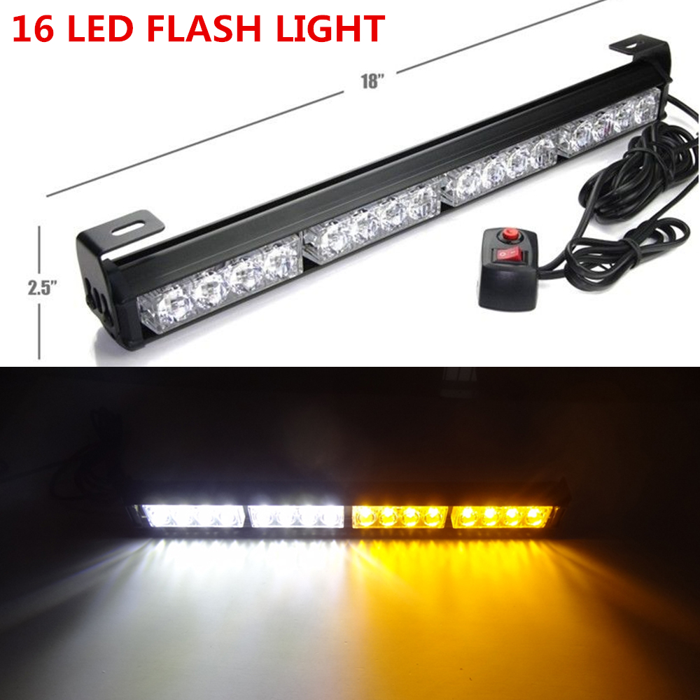 emergency warning traffic advisor flash strobe light bar amber white. Black Bedroom Furniture Sets. Home Design Ideas