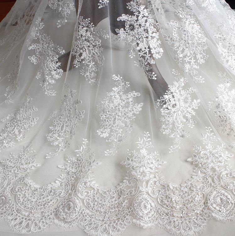 1 yard evening bridal wedding dress embroidered white for Wedding dress lace fabric