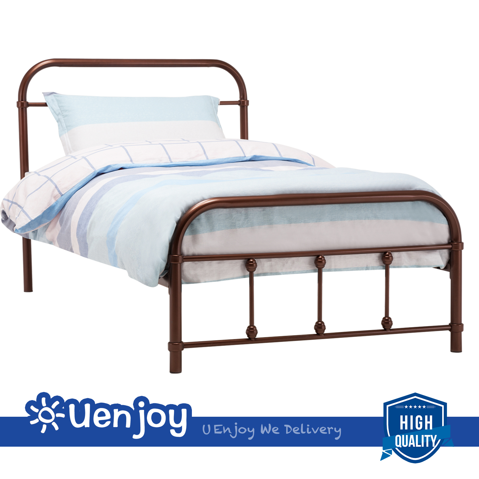 Metal bed frame platform twin full queen size w headboard for Queen footboard