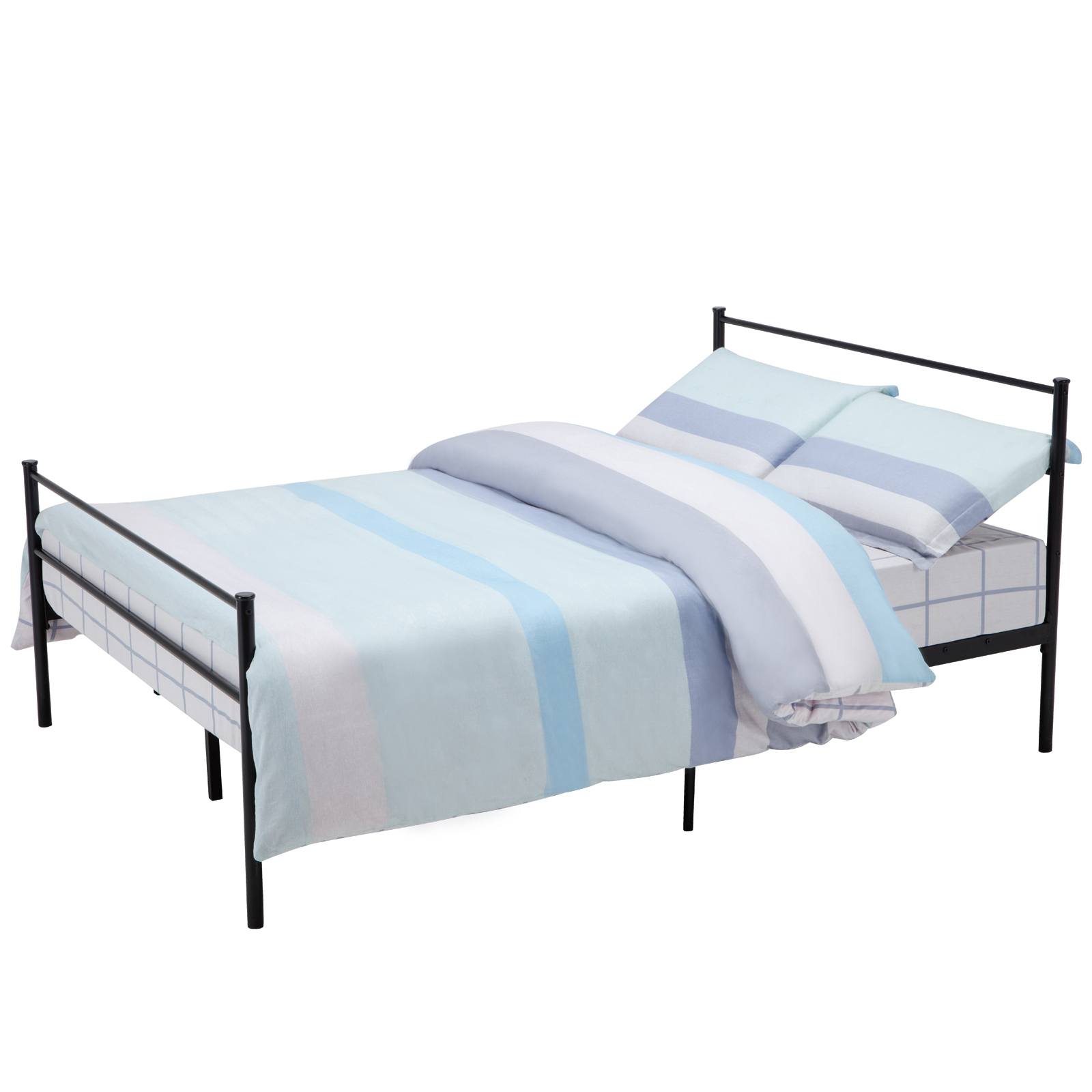Twin full queen size metal bed frame platform headboards 6 for Queen size bedroom sets with mattress