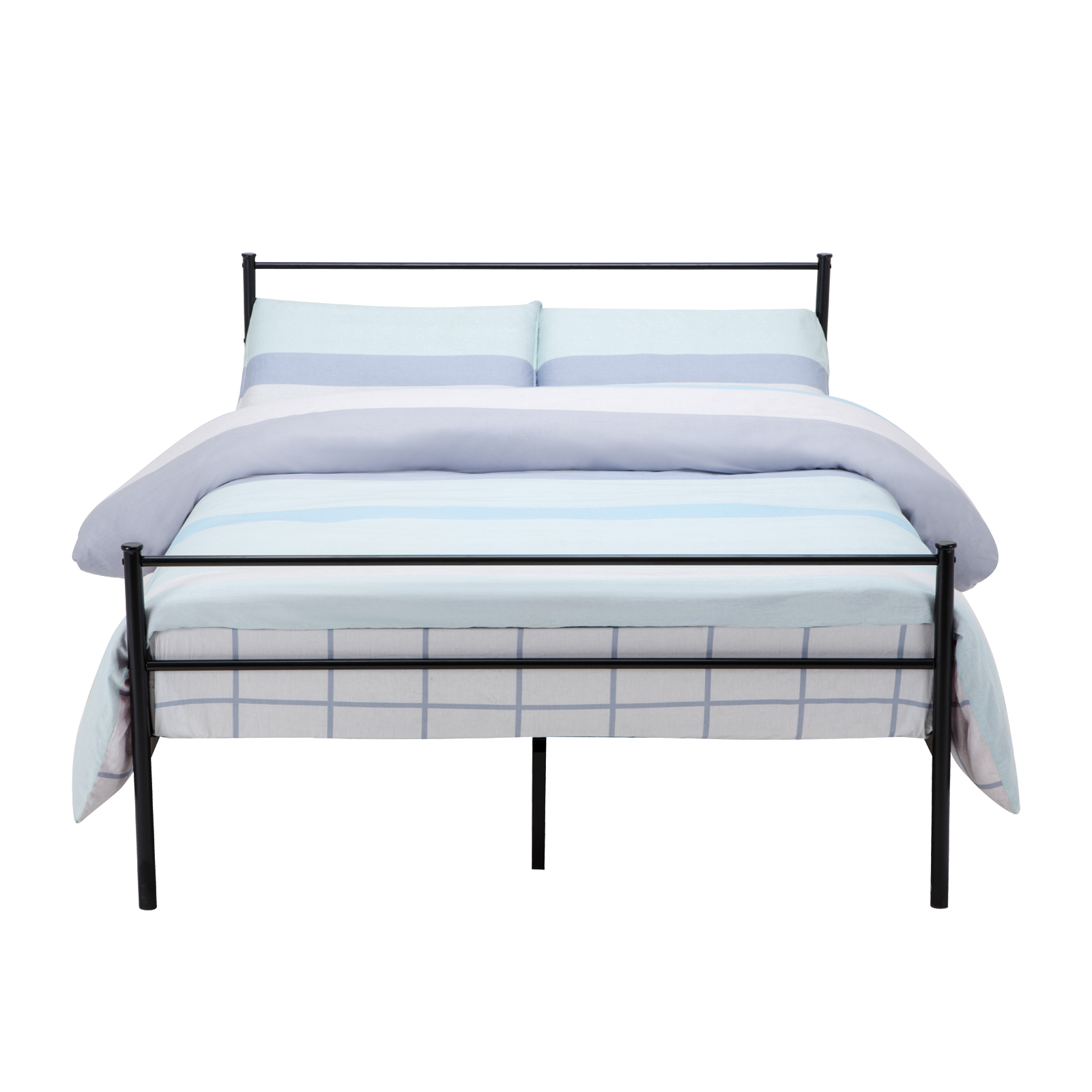 Twin full queen size metal bed frame platform headboards 6 for Full size bed frame