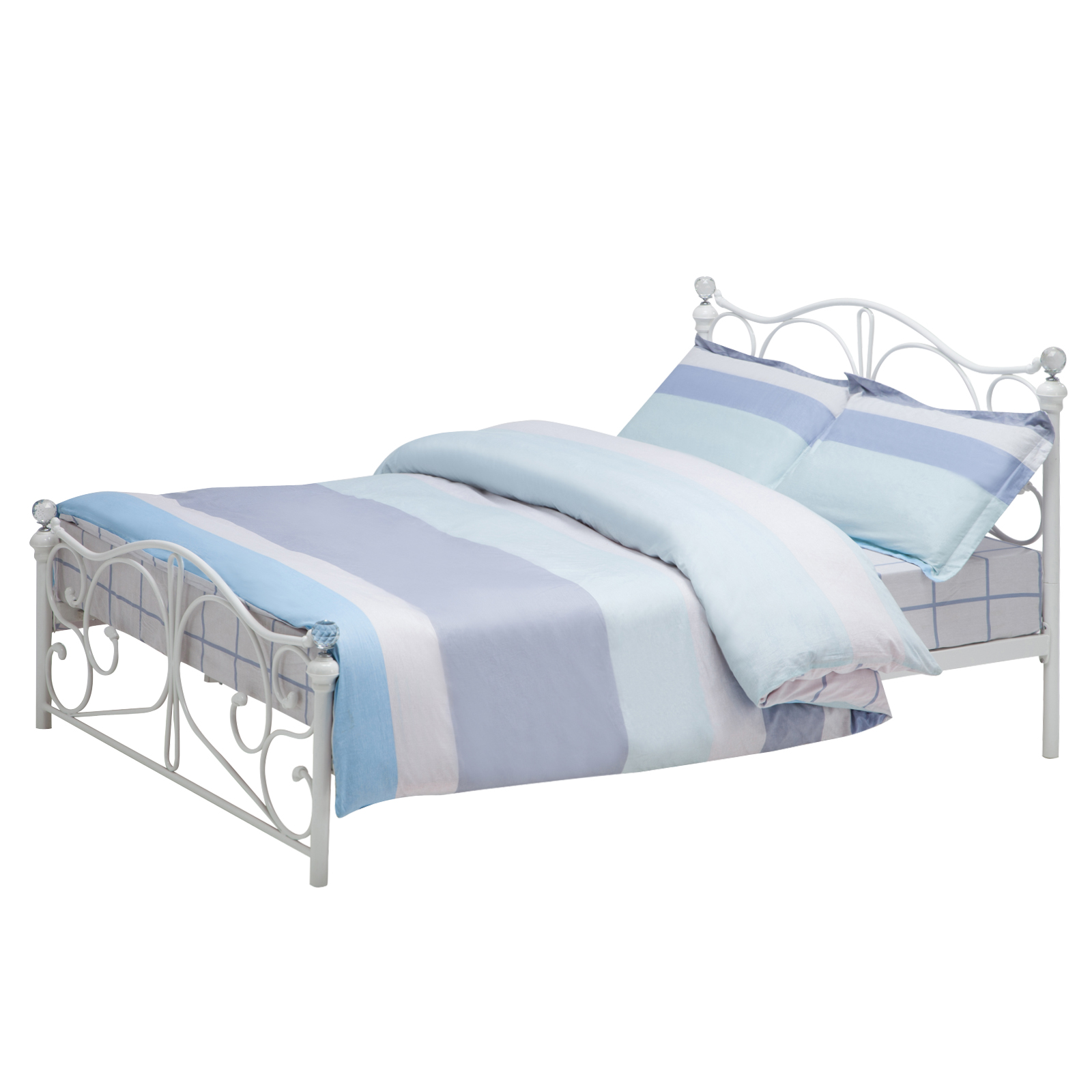 white full size metal bed frame cry finial headboard footboard ebay. Black Bedroom Furniture Sets. Home Design Ideas