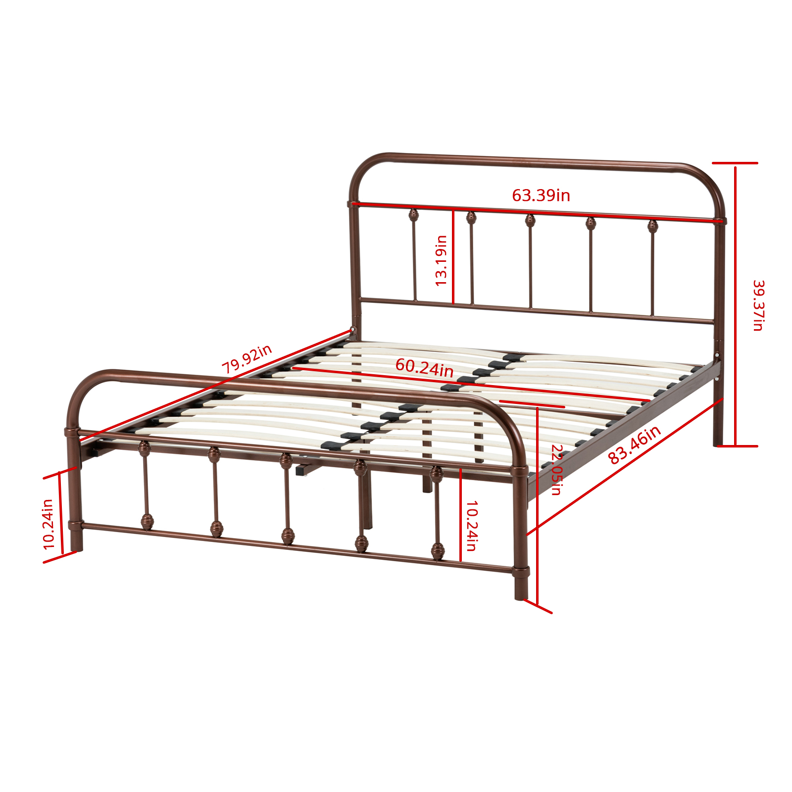 Queen Size Metal Bed Frame Platform Slat Furniture W