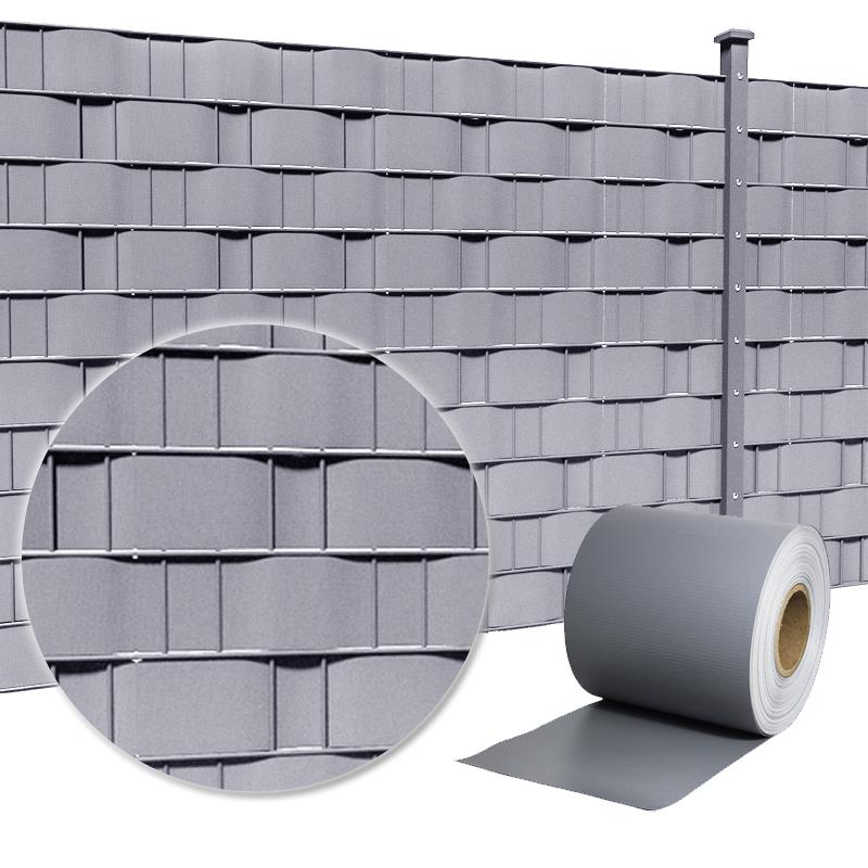 pvc sichtschutz streifen sichtschutzfolie doppelstabmatten zaun folie 65m grau ebay. Black Bedroom Furniture Sets. Home Design Ideas