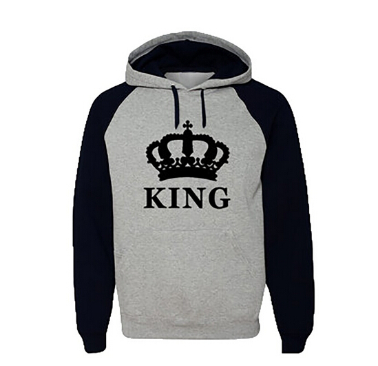 fashion couple matching hoodies king queen print casual. Black Bedroom Furniture Sets. Home Design Ideas