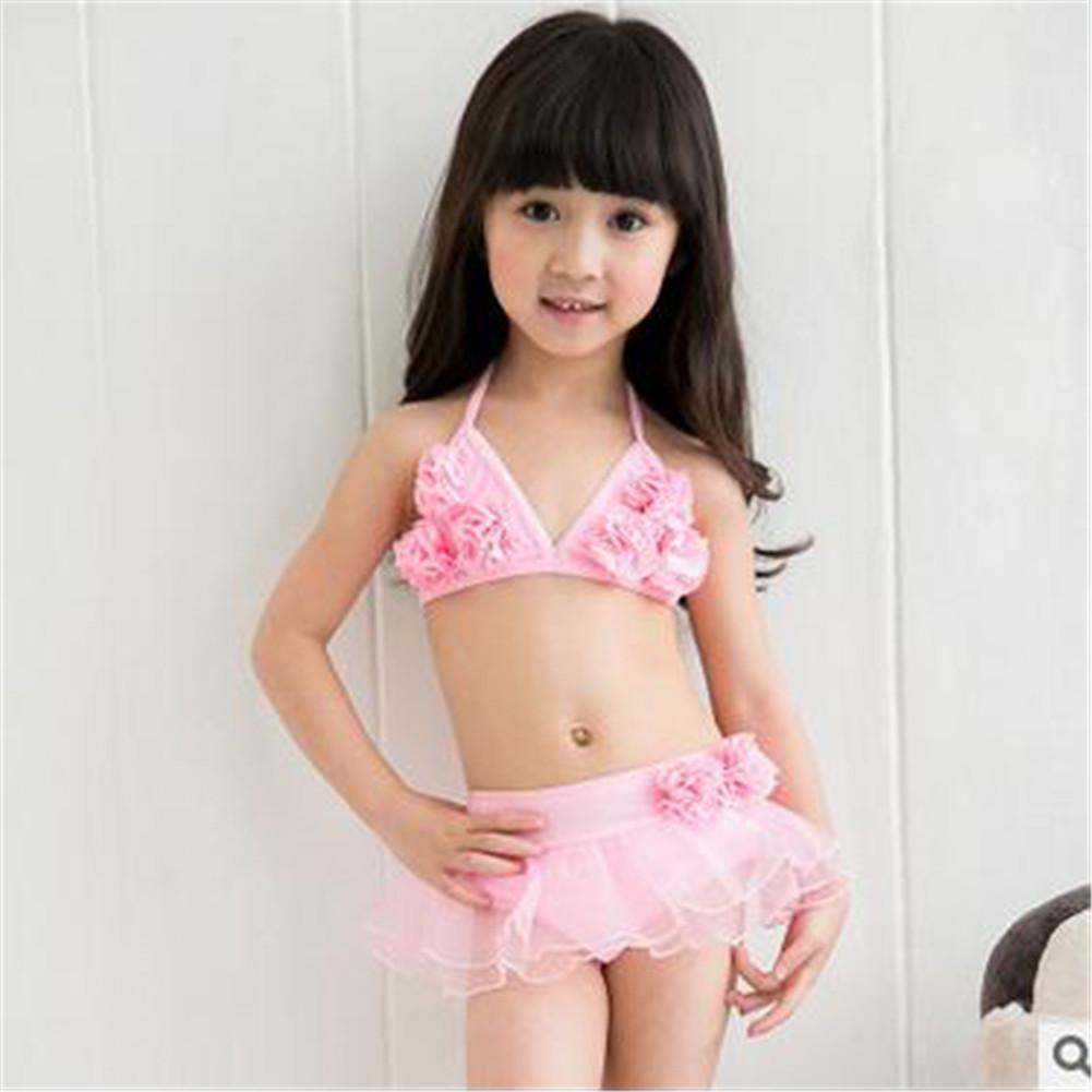 Ni os beb ni as traje de ba o conjunto bikini traje rosa - Ropa de bano bebe ...