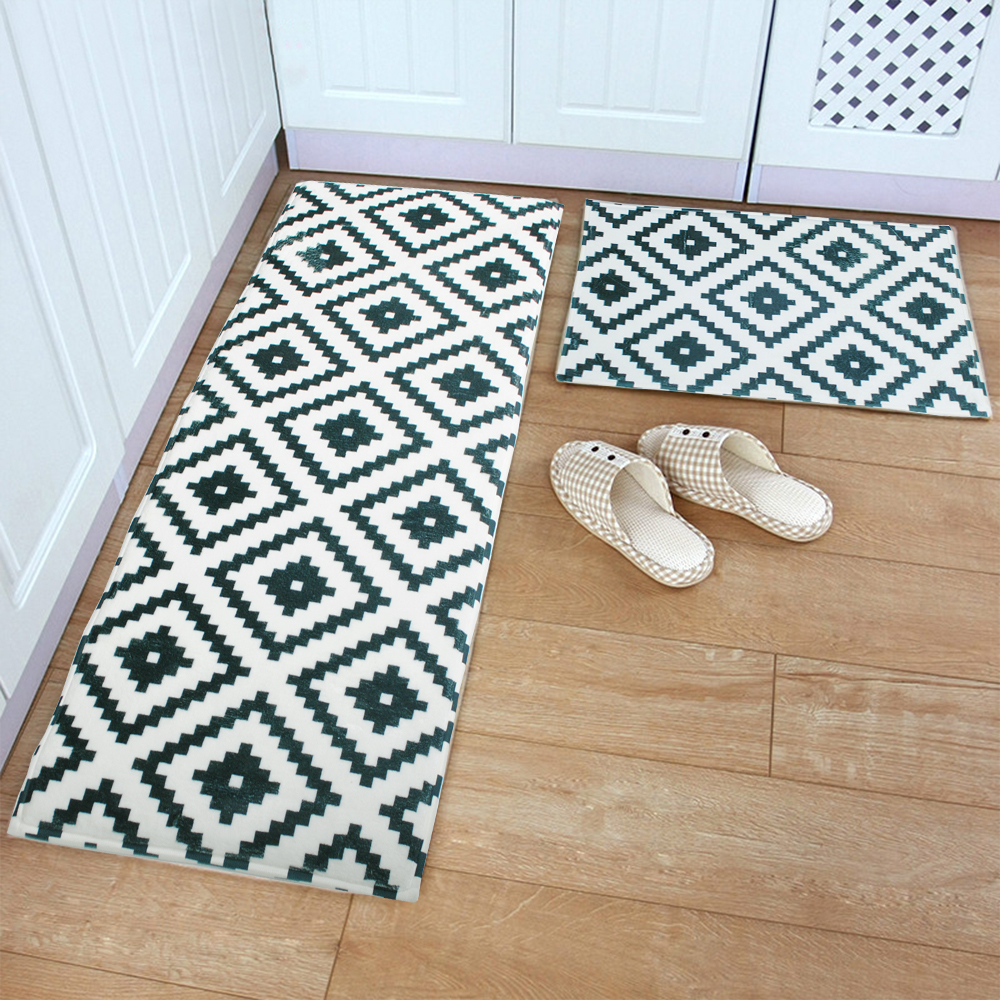 Clean Step Black White Grid Doormats Floor Mat Rug Kitchen
