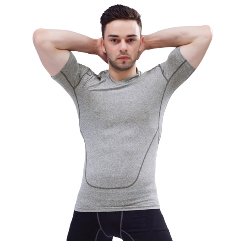 Men 39 s compression utility short sleeve t shirt athletic for Compression tee shirts for men