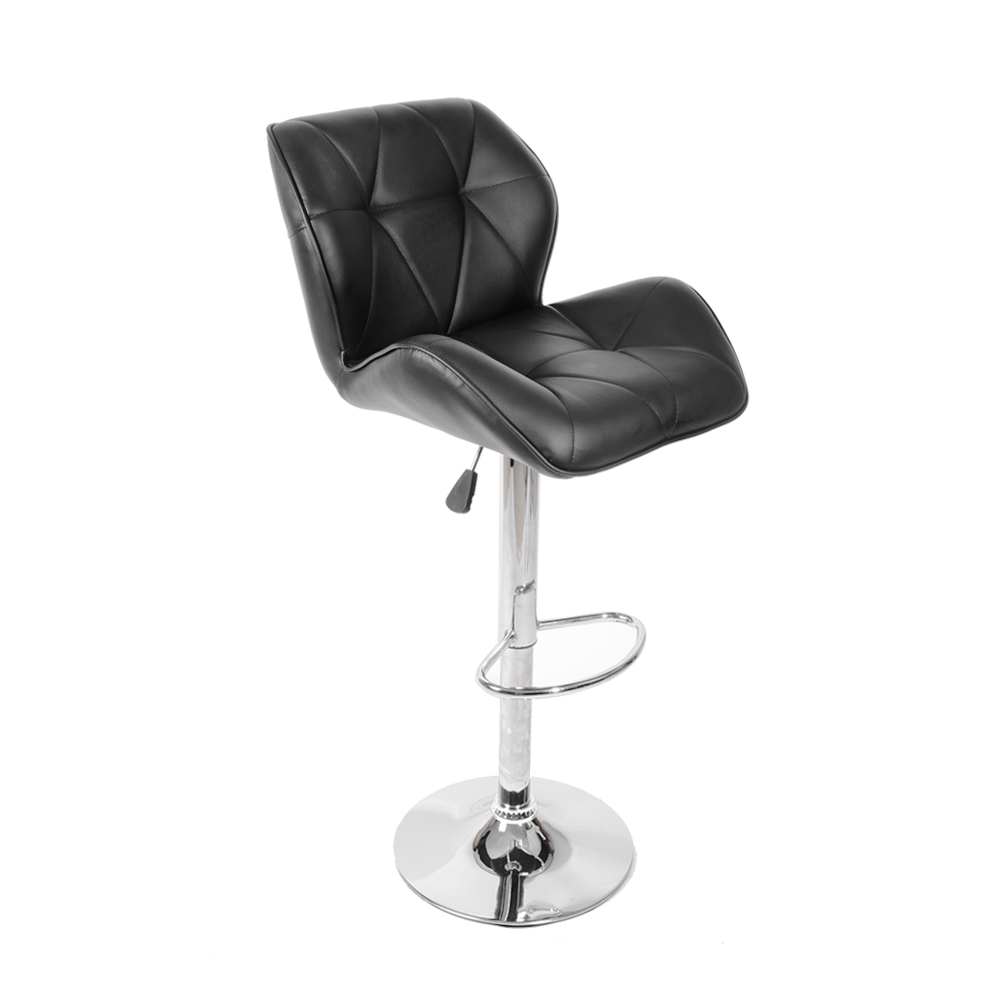faux leather kitchen breakfast swivel chrome bar stools chair pub stool footrest ebay. Black Bedroom Furniture Sets. Home Design Ideas
