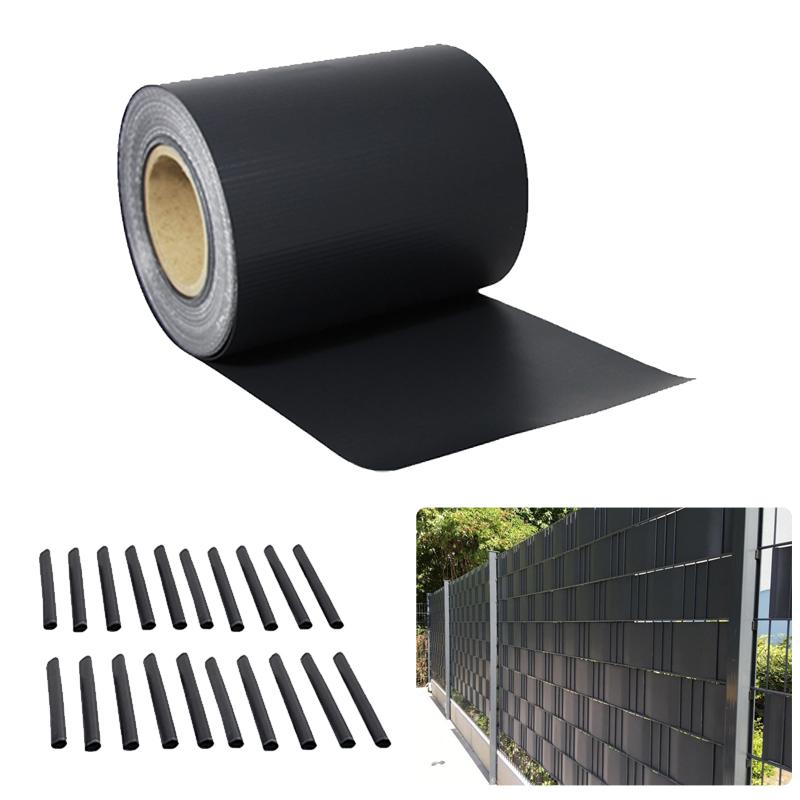 pvc sichtschutz streifen sichtschutzfolie doppelstabmatten zaun 35m anthrazit de ebay. Black Bedroom Furniture Sets. Home Design Ideas