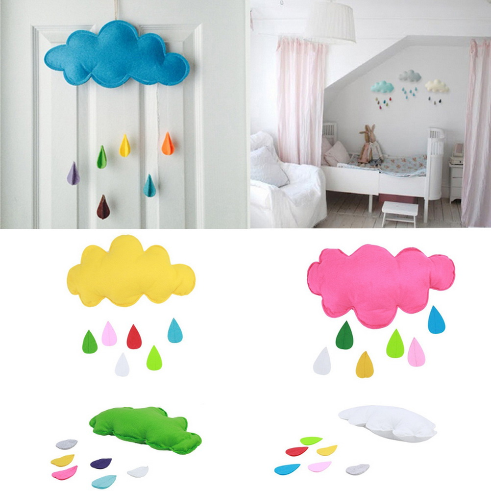 Yoocart raining clouds water drop baby room hanging toys for Baby room decoration uk