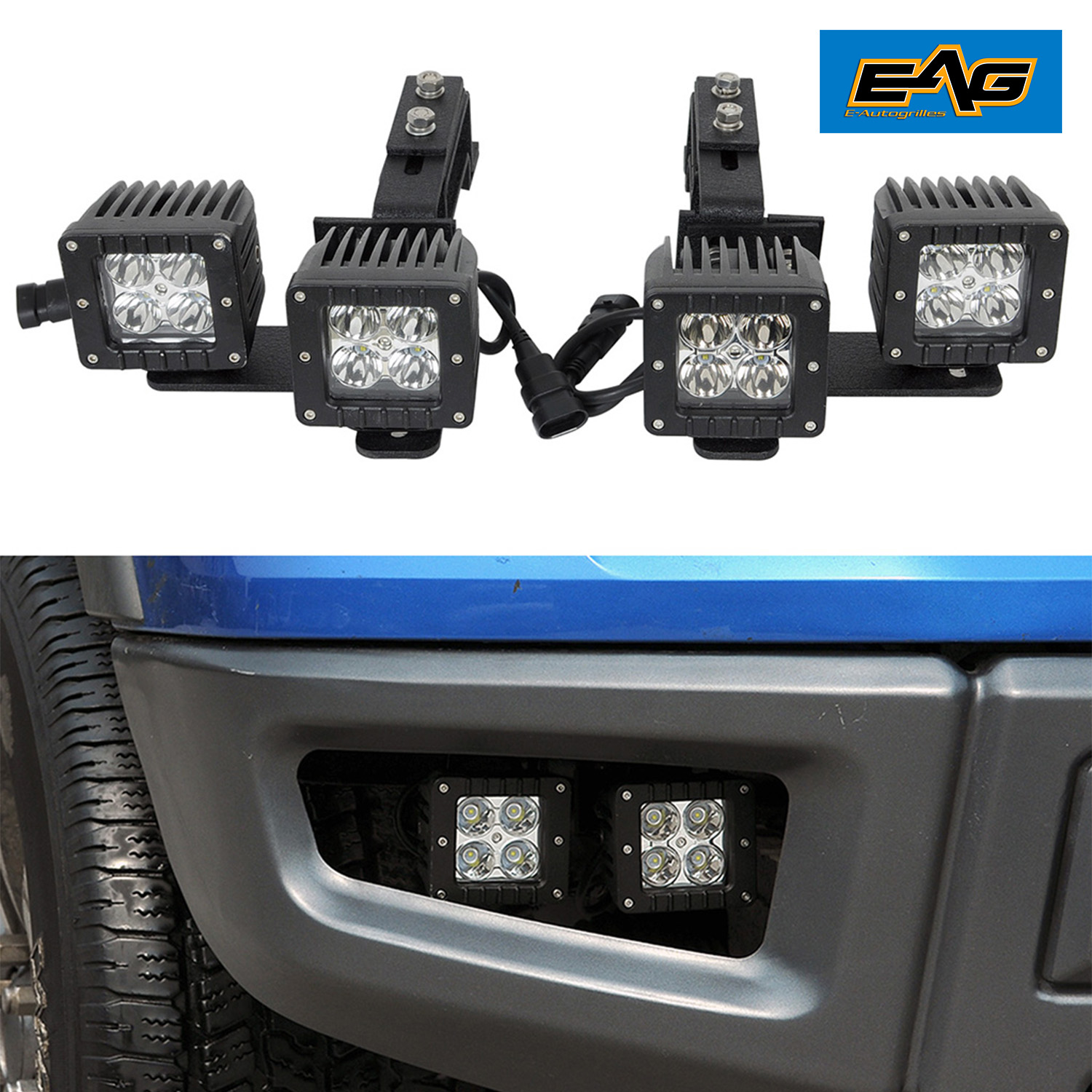 Raptor Style Bumper Dual Fog Light Brakets W 4 Led Lights