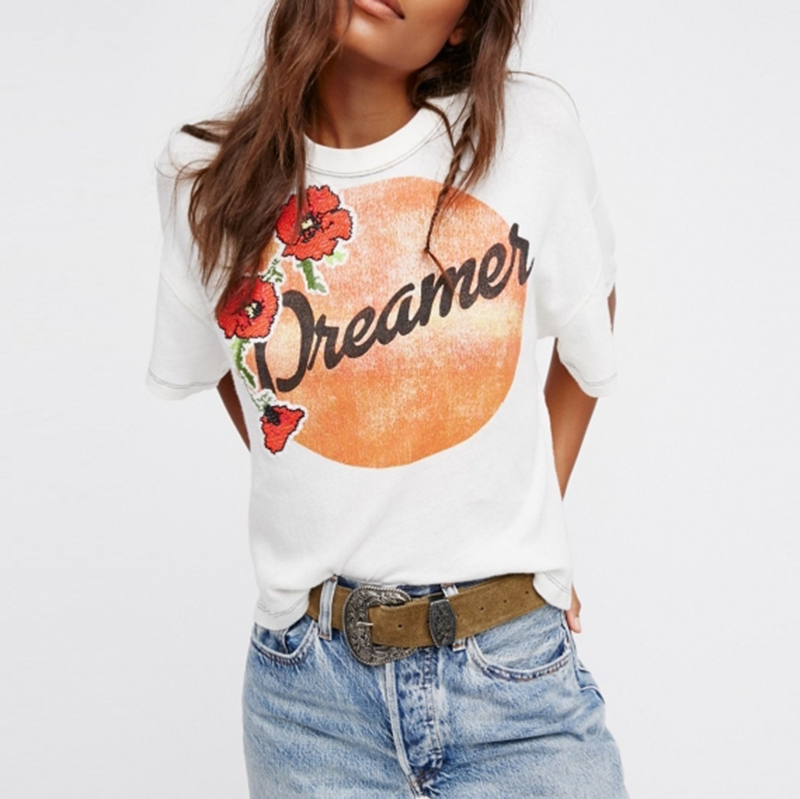 Women's Fashion Letters Print Short Sleeve T Shirt Basic Tee Summer Casual Top