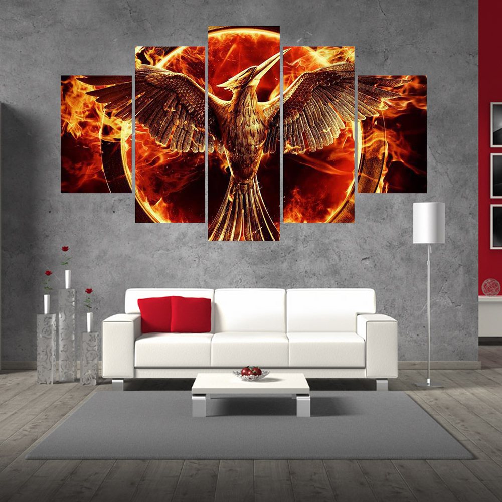 5pcs Frameless Abstract Phoenix Fire Bird Canvas Painting