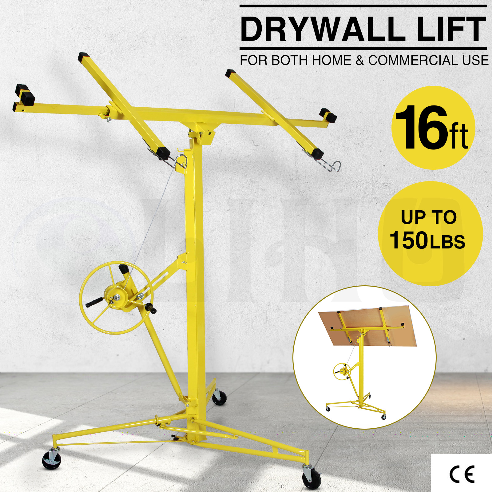 Drywall lift 16 39 19 39 panel hoist jack rolling caster for Drywall delivery cost
