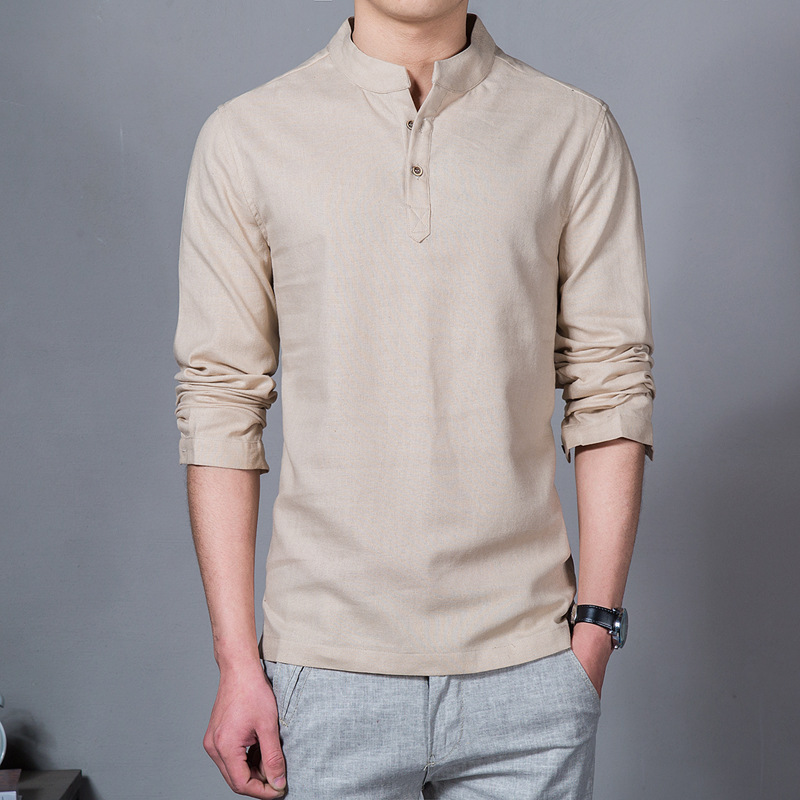 Mens linen button neck shirt t shirt mandarin collar for Mens button collar shirts