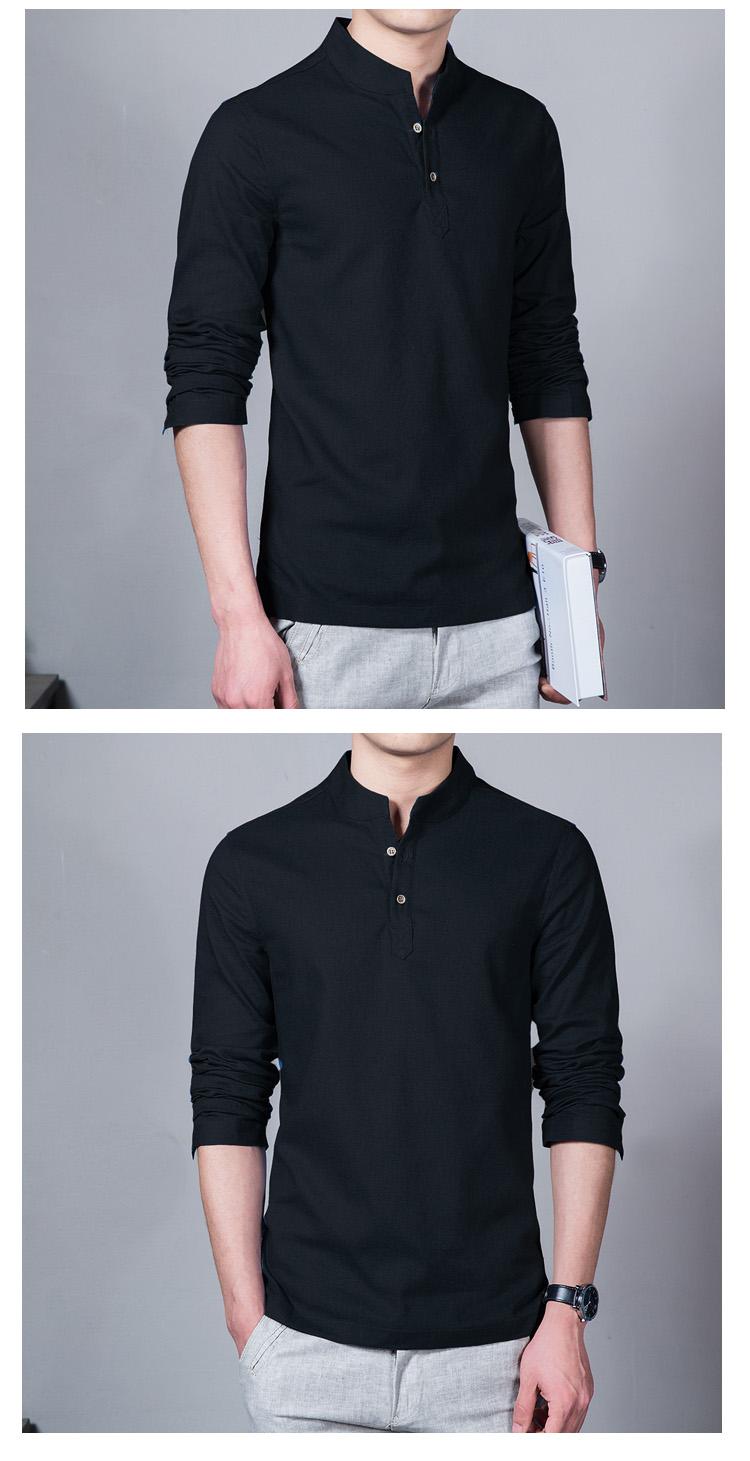 Mens linen button neck shirt t shirt mandarin collar for Button collar t shirt